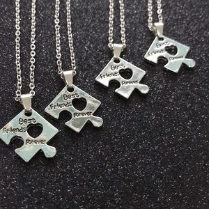 Best Friends Forever Puzzle Necklace Set of 4